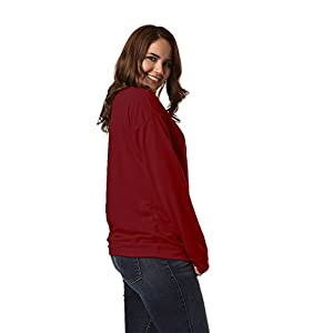 DAYSOFT Women O Neck Long Sleeve Love Print Long Sleeve T-Shirt Shoulder Off Blouse Hoodie Tunic Tops (Red, L)