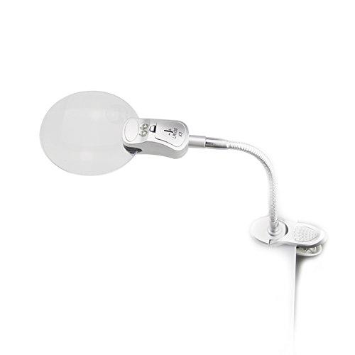 Adealink 2X 90mm 6X 32mm 2 LED Lamp Magnifier Clip-on Des...