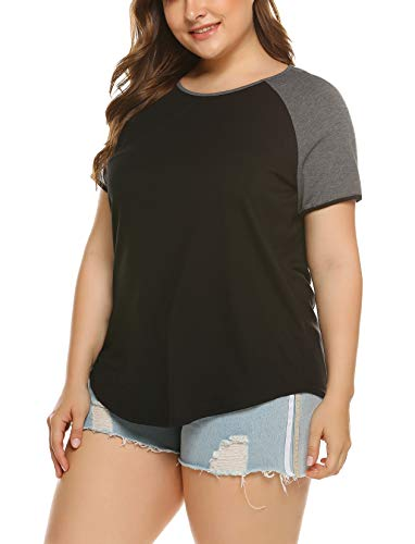 IN'VOLAND Womens Plus Size Summer Tops Raglan Shirts Baseball Tee Round Neck Short Sleeve/Long Sleeve Tunic Tshirts T-Shirts