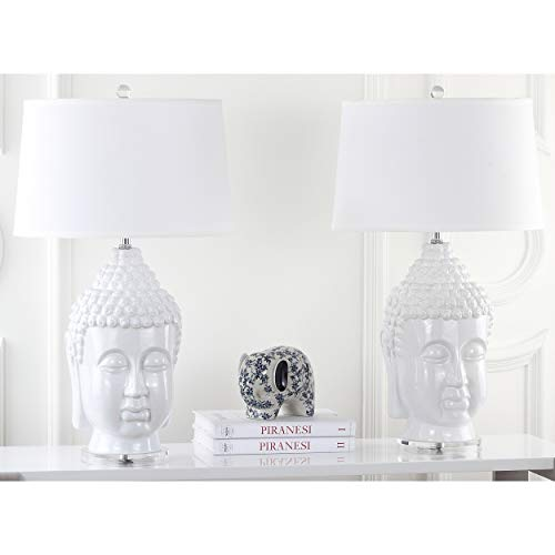 (Buddha Lamp White Monk Theme Sculptures Table Lamps Zen Meditating Buddhism Garden Statues Spiritual Yoga Mendicant Carving Sage Budha Warrior Figurine Home Decor, 2 Piece Ceramic 13 Watt)