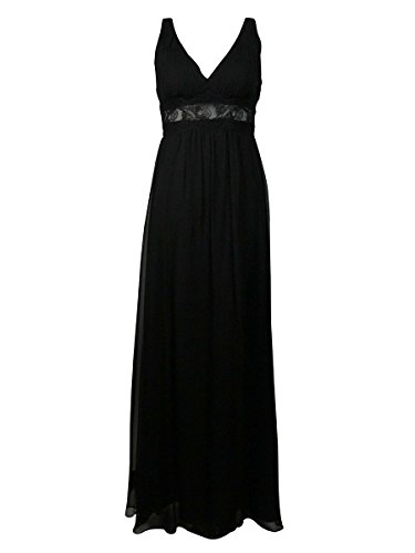 Mattox Illusion Aidan Silk Black Neck Lace V Dress Women's Waist Chiffon TfRxfqwd