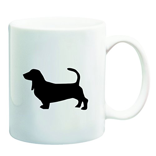 Bassett Hound Dog - Black Silhouette Design - 11oz Coffee Mug - Dishwasher Microwave Safe ()