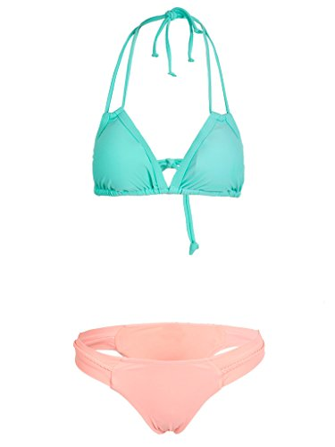 CR Women's Color Block Triangle Cups Halter Padded Bikini Top And Bottom