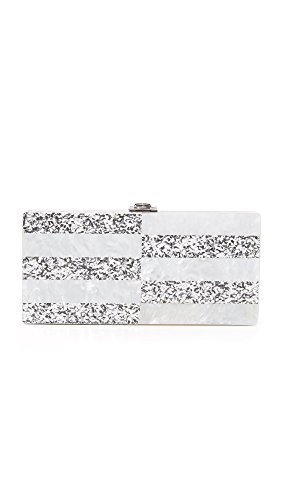 Clutch Silver Box Silver Stripe MILLY White gzPtt
