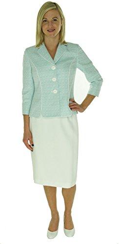 Le Suit Teal White Womens Petite Textured Skirt Suit Set