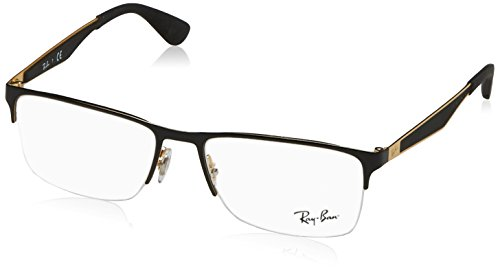 Ray-Ban RX6335 Rectangular Metal Eyeglass Frames, Black on Gold/Demo Lens, 54 mm