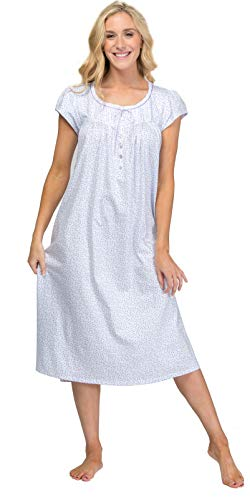 Eileen West 100% Cotton Knit Cap Sleeve Nightgown in Plum Rose (White/Plum Ditsy Floral, X-Large)