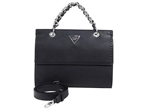 - Guess Women's Sawyer Black Chain Crossbody Satchel Handbag