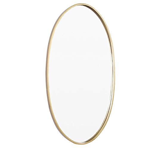 "HELIn Brushed Metal Wall Mirror | Oval Gold Framed Rounded Deep Set Design | Mirrored Hangs Horizontal or Vertical (19.6"" x 35.4"")"