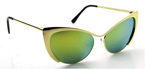 Gold Pop Mirror Lens Cat Eye Futuristic Nastasya Fashion Retro - Retro Fashion Futuristic