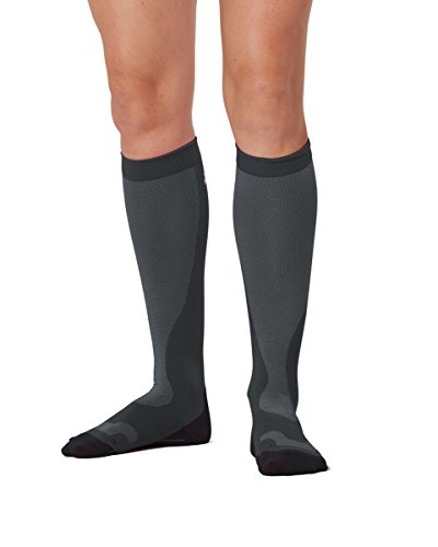 2XU Women's Performance Compression Run Sock, Titanium/Black, Large