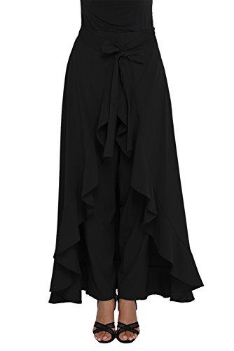 Shopall Fashion Women's Chiffon Tie-Waist Ruffled Palazzo Pants with Maxi Skirt Overlay Black XX-Large