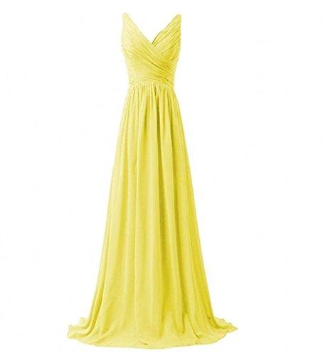 Brautjungfernkleider 2018 Ausschnitt Neu Gelb Chiffon Damen Abendkleider Lang V Charmant Partykleider 8Sq76ngn