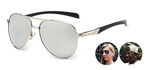 Polarized UV400 Protection Aviator Metal Frame Resin Lenses Sunglasses For Women Men with Semi Hard Case (black-silver, silver)