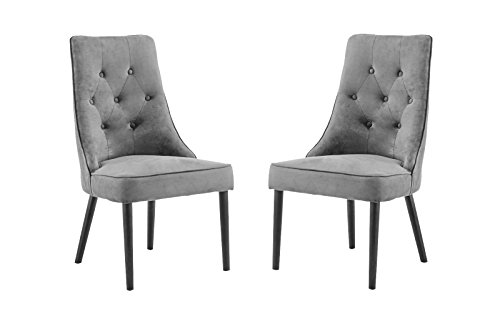 Classic 2 Piece Tufted Button Brush Microfiber Dining Chair (Grey) (Dining Chairs Velvet Grey Room)