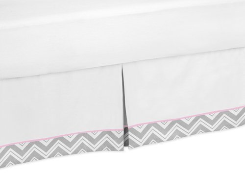 Sweet Jojo Designs Pink and Gray Chevron Zig Zag Bed Skirt for Toddler Bedding Sets