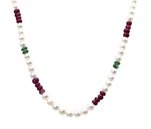 Decades Costumes Diy (Women'sPearl With Ruby & Emerald Single Line StRing By Arihant Gems And Jewels)