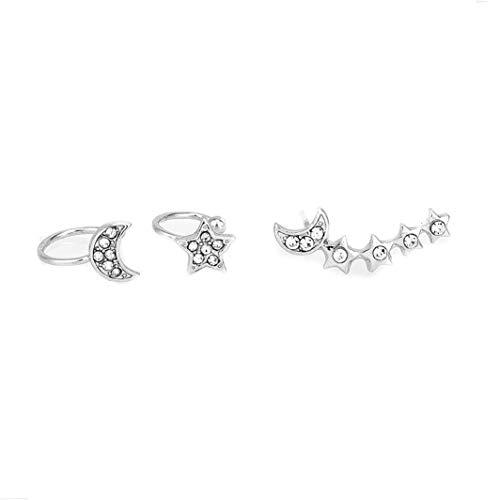 - YouCY Ear Crawler Earrings Climbers Charm Crystal Moon Star Stud Earrings Set Women Fashion Jewelry Gifts,1#