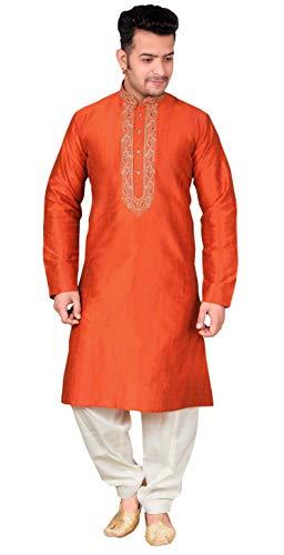 Desi Sarees Mens Salwar Kurta Pajama Bollywood Costume 1849 (Chest - 48 inches, Burnt Orange) -
