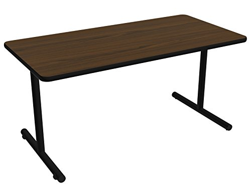Nomad by Palmer Hamilton ATTGO293060-MWBLKEG Fixed Leg Standard Weight Aero GO T-Base Table with Built in Casters, Black Frame, Black Edge Guard, Rectangular, 60