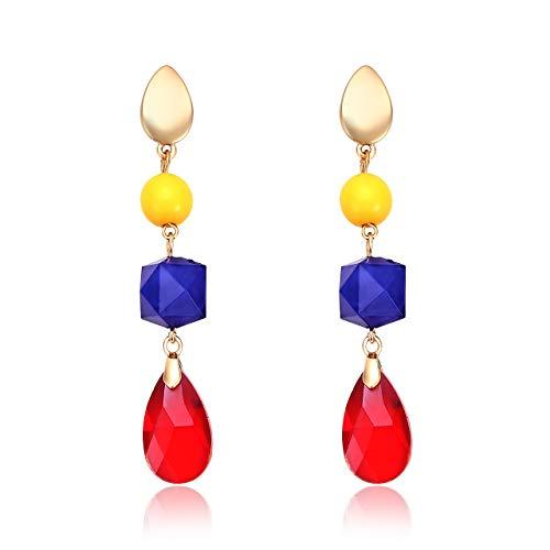 - Liao Jewelry Colorful Crystal Linear Earrings Multi Geometric Stone Long Drop Dangle Earrings for Women (Yellow)