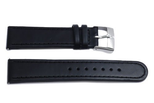 Genuine Leather Black Infantry Series 22mm Watch Band By