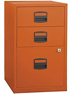 Bisley Three Drawer Steel Home Or Office Filing Cabinet, Orange (FILE3 OR)