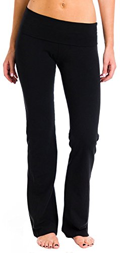 Hard Tail Rolldown Bootleg Flare Pant M Black ()