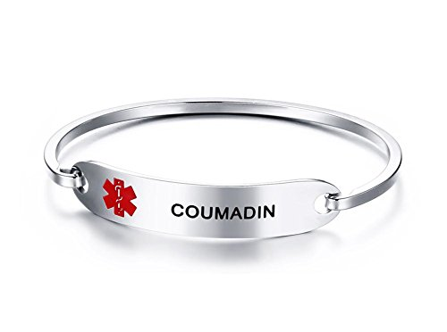 Mealguet Jewelry COUMADIN- Stainless Steel Medical Alert ID Oval Fit Bangle Bracelets for Women/Black Deep Engraving by Mealguet Jewelry
