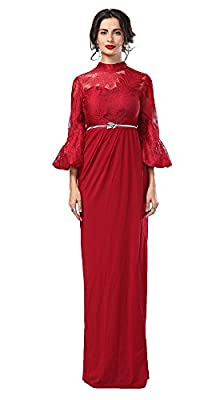 Conail Coco Women's Bridesmaid Prom Dresses Long Floral Lace Halter Trumpet Sleeves Evening Gowns