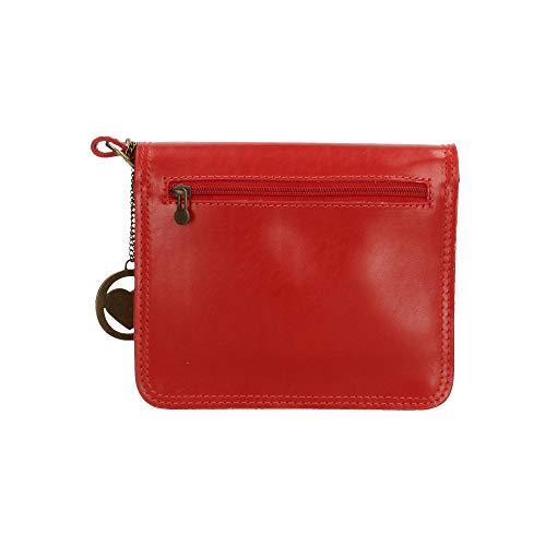 de cruzado Italy cuerpo maletín genuina Chicca en 20x17x7 Made in Piel Borse Rojo Pequeño cm XtCqPUw