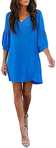 SVALIY Women's Chiffon V Neck Bell Sleeve Casual Loose Shift Party Mini Short Dresses (Blue, L)