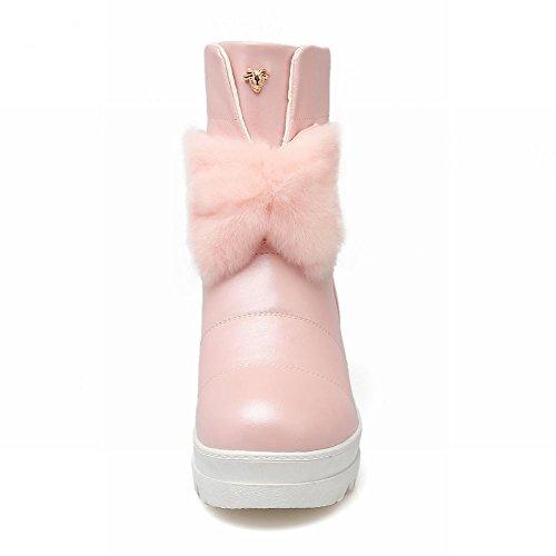 Carolbar Womens Bow Bows Faux Fur Cute Platform Tacco Alto Stivali Da Neve Rosa