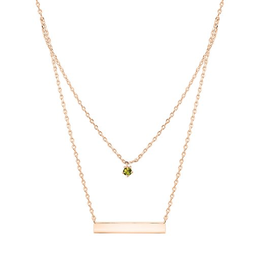 PAVOI 14K Rose Gold Plated Swarovski Crystal Birthstone Bar Necklace Pendant Engraveable August ()