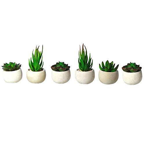 (Houseables Artificial Succulent Plants, Fake Plant, 6 Pack, 4.25