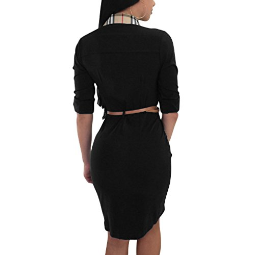 Belt Night Front Bodycon With Mini Black 4 Split 3 Womens Skirt Sleeve V Sexy Botton Neck Adogirl Dress Pencil Club wASqPUT