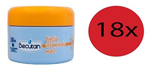 18 x Becutan Baby Vitamine Diapering Balm 200 ml (127 oz) by Becutan