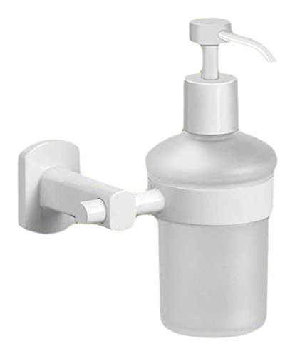 Gedy ED81-02 Round Brass and Frosted Glass Wall Mounted Soap Dispenser, 1.09