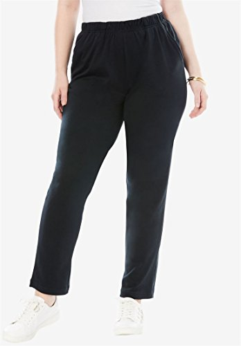 Roamans Women's Plus Size Petite Classic Soft Knit Pants Black,1X