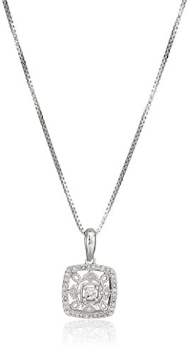 Diamond Square Necklace - Sterling Silver Beaded Square Diamond Pendant Necklace, 18