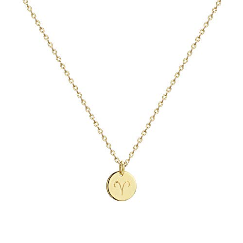 Befettly Constellation Necklace Pendant 14K Gold-Plated Hammered Round Disc Engraved Zodiac Sign Pendant 17.5'' Adjustable Dainty Necklace NK- Aries