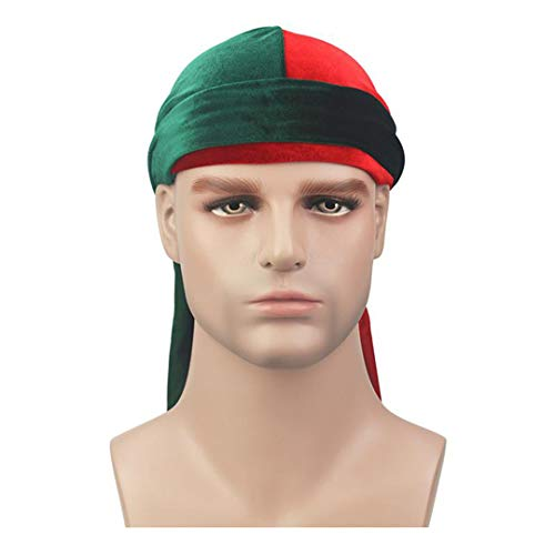 Men Velvet Durags Bandana Turban Hat Wigs Du-Rag Biker Headband Pirate Hat Hair Accessories Red Green Size fits all