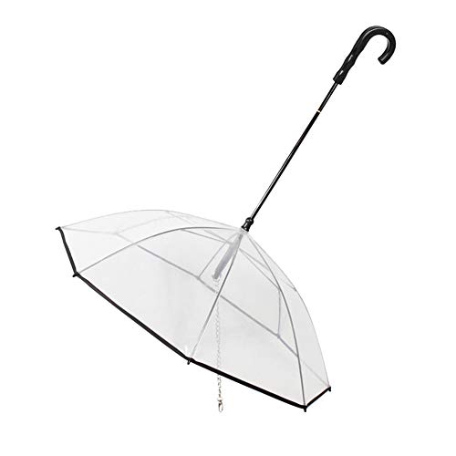 millet16zjh Transparent Folding Pet Umbrella Dog Puppies Protector Raincoat Cover with Leash - Transparent ()