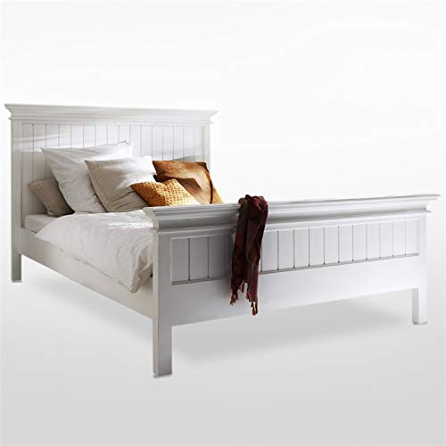 NovaSolo Halifax Pure White Mahogany Wood Platform King Bed With Slats And Wooden Support