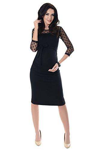 Purpless Maternity Ruched Bodycon Pregnancy Dress with Sheer Mesh Panel D008 (8, Black)