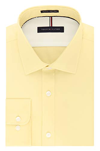 (Tommy Hilfiger Men's Dress Shirts Non Iron Slim Fit Solid Spread Collar, Sun, 16