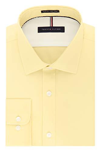 Tommy Hilfiger Men's Dress Shirts Non Iron Slim Fit Solid Spread Collar, Sun, 18
