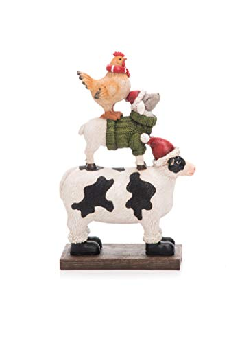(Transpac Imports D0714 Resin Stacked Farm Animals Figurine, White)