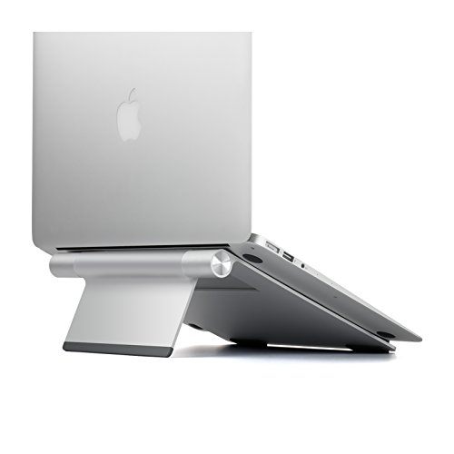 UPERGO Laptop Stand, Foldable Portable Laptop Stand Riser for Desk, Aluminum Notebook Computer Stand, Fits MacBook and Laptops up to 17 inches, Silver(AP-1L)