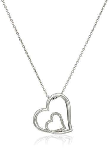 Sterling Silver Diamond Accent Double Heart Pendant Necklace, 18""
